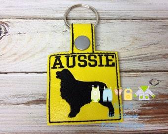 AUSSIE - Australian Shepherd - In The Hoop - Snap/Rivet Key Fob - DIGITAL Embroidery Design