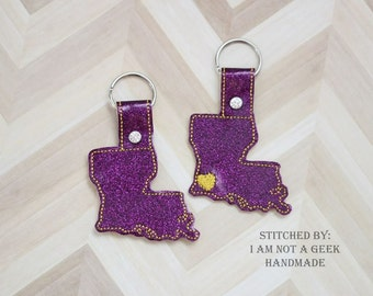 Louisiana -  Heart for the City - In The Hoop - Snap/Rivet Key Fob - DIGITAL Embroidery Design