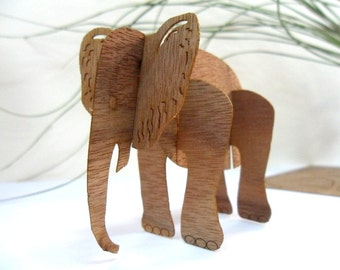Wooden Postcard,3D,Elephant,greeting card wood,puzzle,postcard wood, microwood