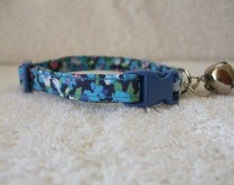 Navy Blue Liberty Print Design Cat Collar with breakaway buckle