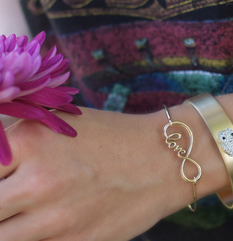 infinity bangle, gold infinity bracelet, love bangle, bridesmaids bracelet, bridal jewelry