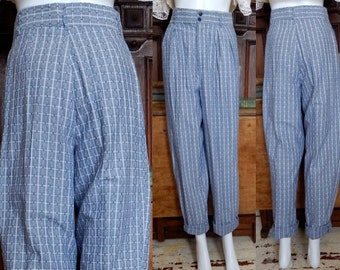 Vintage 80'S gray grid gingham plaid Jibs harem pants ultra High Waist preppy new wave trousers tight ankle