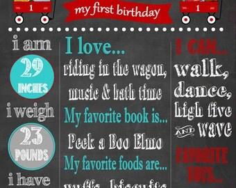 Printable First Birthday Chalkboard Poster, Little Red Wagon Birthday Party, Little Red Wagon, Little Red Wagon Birthday,
