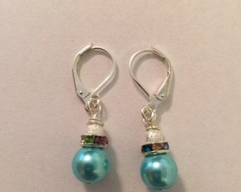 Glass Multi Colored Pearl Drop Earrings