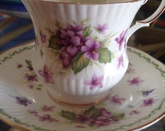 Queens Special Flowers Violets Teacup And Saucer