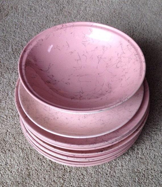 Blue Ridge Pink Spider Web Dish Set