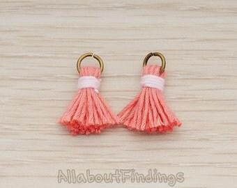 PDT1275-PI // Pink Antique Brass Plated O ring Mini Tassel Pendant, 2 Pc