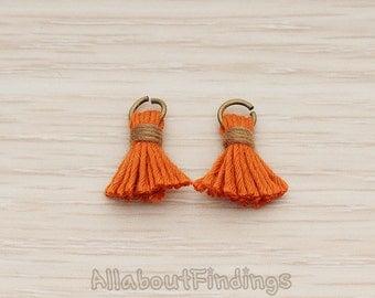 PDT1275-OR // Orange Antique Brass Plated O ring Mini Tassel Pendant, 2 Pc