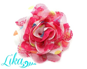 Lace Flower - Party Polka - Chiffon Flower - Lace rose - Shredded Lace Flower - Wholesale - Supply - DIY- 3.75 inch