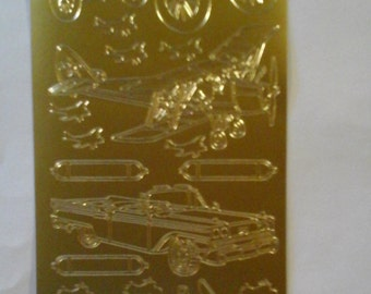 Starform gold cars, plane, motorcycle stickers 1009gg