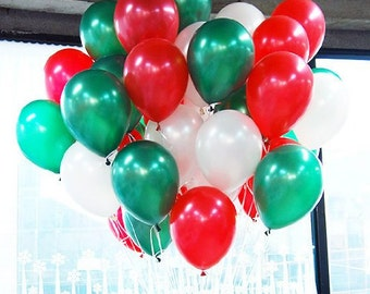 """100 piece (12"""") balloon package red white and green party supplies balloons"""