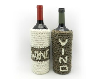 Wine Bottle Cozy, Wine Bottle Bag, Gift Bag, Crochet Wine Bag, Gift Packaging, Ivory and Brown, Hostess Gift, Eco Friendly