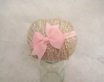 Light Pink Bow Baby Headband Cute Photo Prop Or Everyday 13 to 13.5  Inch