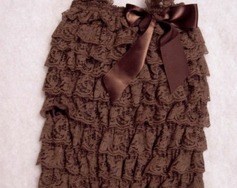 Baby Toddler Ruffle Petti Romper With Straps Brown MEDIUM