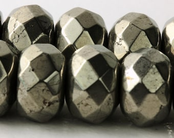Pyrite Faceted Rondelles Silver 7mm;  Your Choice 5, 10, 15, or 20 gems Natural Pyrite Sparkle Faceted Gemstone Rondelles 12mm KJ