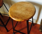 Pair of Industrial Stool with Wood Seat and Metal Base 1940's