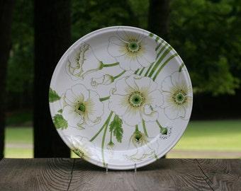 Large Vintage Metlox Matilija Platter / Mod White Poppy Platter / Poppy Trail by Metlox Matilija Platter