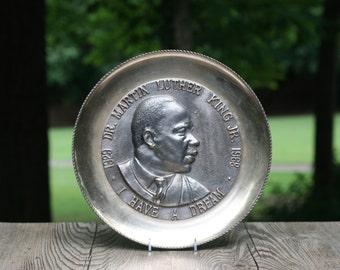 Vintage 1968 Martin Luther King Jr. Commemorative Brass Plate / MLK Memorabilia / I Have a Dream Brass Plate