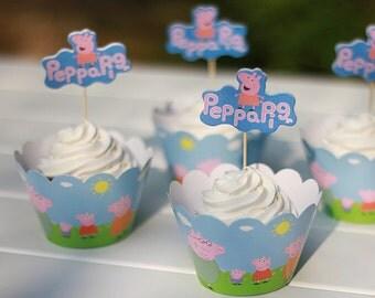 Peppa Pig Cupcake Wrapper Peppa Pig Cupcake Topper Picks Set Peppa Pig Cupcake Cake Wrapper Set