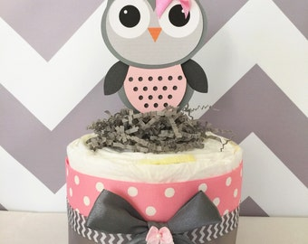 Chevron Owl Diaper Cake Pink and Grey, Owl Baby Shower Centerpiece for Girls