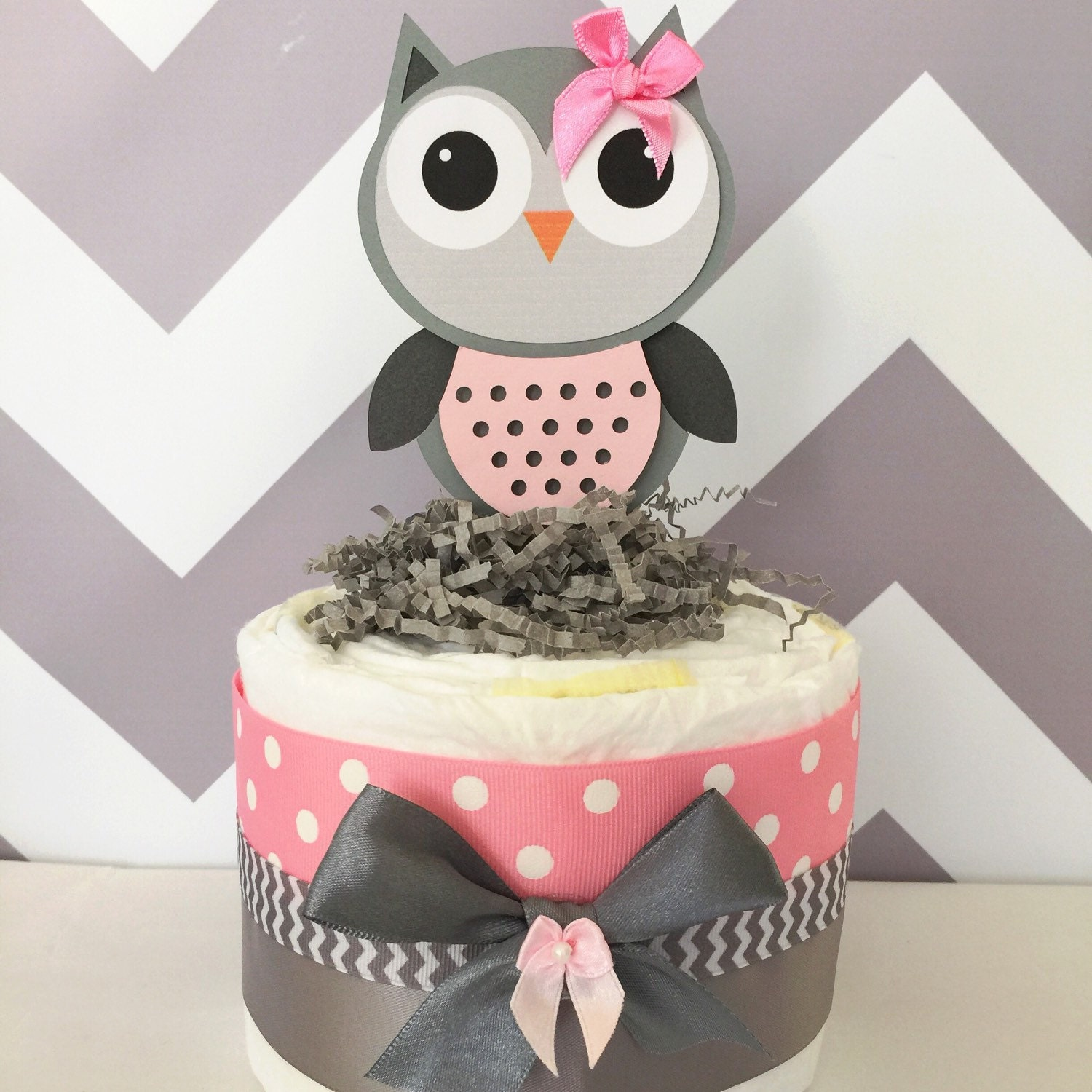 Owl Baby Shower Supplies: Chevron Owl Diaper Cake Pink And Grey Owl Baby Shower