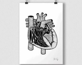 Black and white print of original illustration art poster HEART