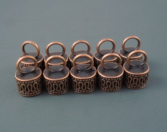 8MM End Cap, TEN Copper Caps for Leather, Kumihimo  or Cord, 8mm Cap (CAP8-005)