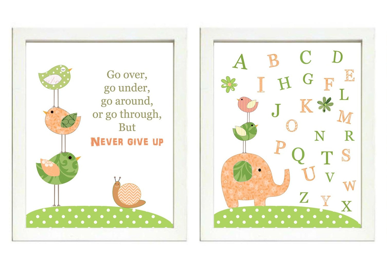 Peach Coral Green Nursery Art Print Set of 2 Elephant Bird Turtle Snail ABC Alphabet Baby Child Kid