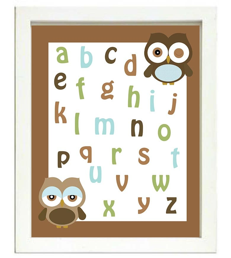 ABC Alphabet Nursery Art Owl Nursery Print Baby Art Animal Blue Green Brown Beige Print Wall Art Gir