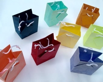 Pack of 10 Mixed Color Assortment Mini Gift Bags - Gift Bags With String Handle - Colored Gift Bags