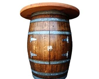 Wine Barrel Bottle Cabinet Table, Wine Bottle Cabinet Bar, Wine Storage  Barrel Bar, Barrel Art