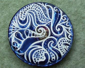 Czech Glass Button 32mm - hand painted - white, blue vitrail (B32132)