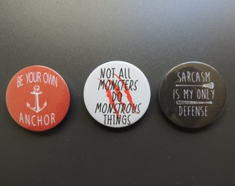 Teen Wolf quotes button set