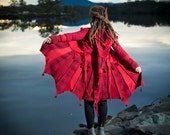 Red Tartan Pixie coat with button up front and long pixie hood and pixie points. Made from extra warm upcycled material
