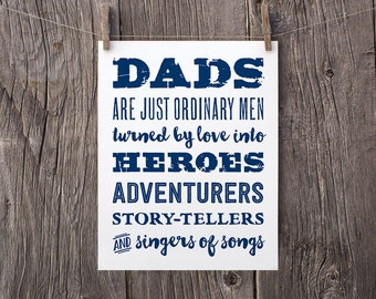 8x10 Printable Valentines Day Gift For Dad Daddy, Downloadable Gift for Dad, Navy Typography Print, Fathers Day Printable, Dads Quote Print