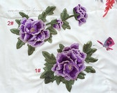 3D Violet peony Flower Lace Embroidery Appliques Trim Patch for wedding dress Shirts Trousers Skirt formal full dress stage performance