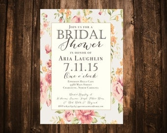 Shabby Chic Floral Bridal Invitation; Blush, Peach, Gold; Printable or set of 10