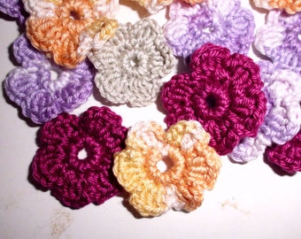 Sets of 10 pcs - crochet flowers, flowers, crochet, cotton flower, made of order in your colors