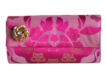 SALE! Fuchsia Pink Damask Print Clutch, Tribal Clutch Bag, Clutch Purse - Bridal Clutch, Handmade Clutch Bag, Evening Bag, Bridesmaids Gifts