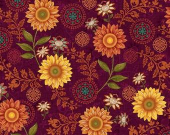 Burgundy Master Floral, Autumn Elegance, Studio e, Rich Color By 1/2 yd