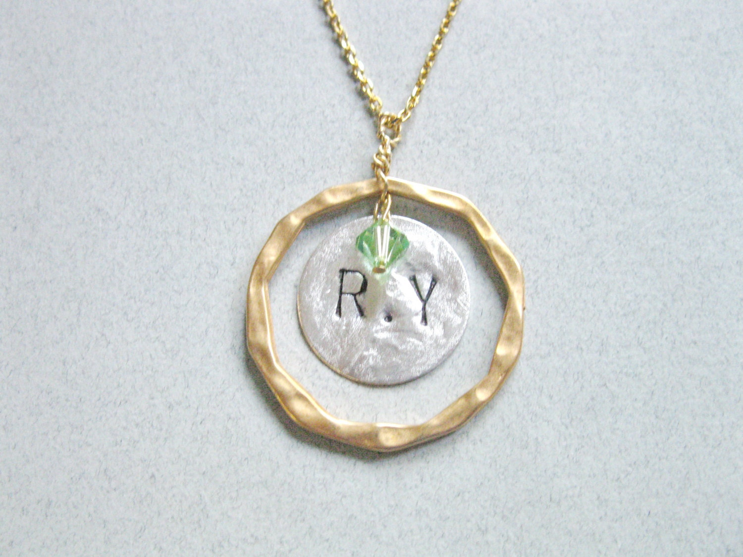 initial necklace monogram necklace peridot necklace circle