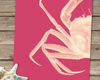 Crab wall art - White On Pink - crab print pink wall decor modern Nursery Art for Kids Room Décor coastal decor Nautical print Nautical Art