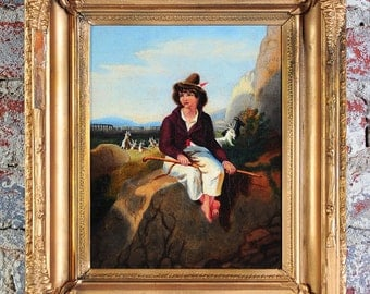 A Shepherd Boy 19th century Esquisite Oil Painting on Canvas