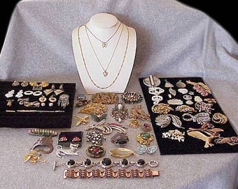 LOT 78 Antq/Vntg Stunning JEWELRY some High End Pieces Pins Earrings most Signed