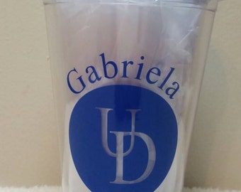 University of Delaware UD tumbler cup with lid and straw