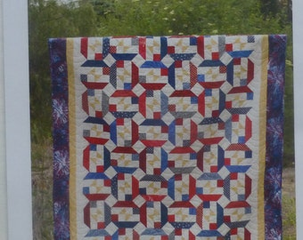 Pattern Early Light, Quilt Pattern, Patriotic~ for 2 and One Half Strips~ Cozy Quilt Design, Fast Shipping PT160