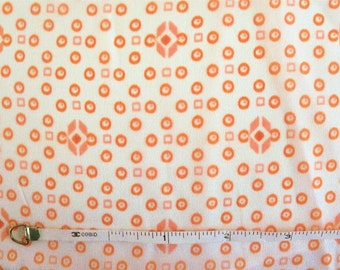 Vintage 70s Orange Dotted Sheer Silk Fabric