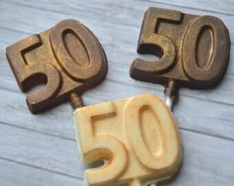 """Number Fifty """"50""""  Chocolate Lollipops - 50th Birthday Party Favor - 50th Anniversary Favor - Golden Anniversary Favor- Chocolate Number 50"""