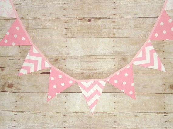 pink bunting - pink chevron, toile and polka dot fabric - pink banner - party decor - wedding banner, photo prop, pink bunting- girl bunting