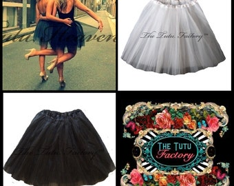 New Years Eve Tutu .  Big Girls to Adult Plus Size Tutu . Black or White or Grey  . LENGTH 16in